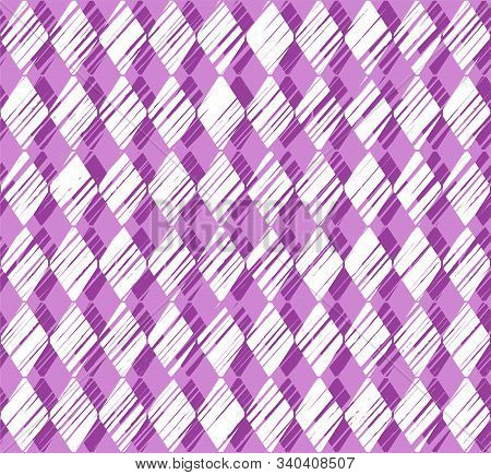 Diamonds, Pattern, Shading, Purple, Seamless Pattern, Vector. Vertical Stripes Of White Diamonds On