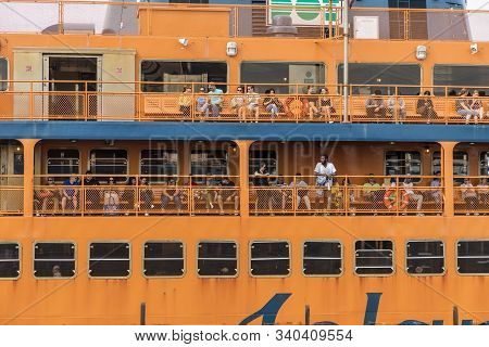 New York, Usa - Oct 5, 2017: People On Board Of  Staten Island Ferry. The Ferry Connects Manhattan W