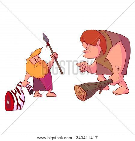 Colorful Vector Illustration Of A Cavemen Presenting A New Modern Spear Weapon