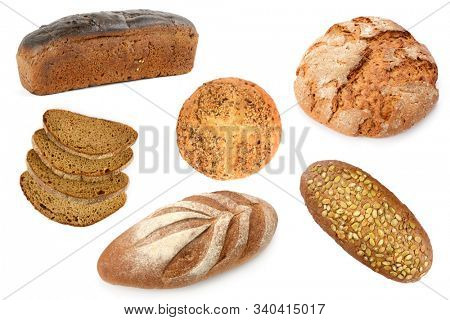 Set bread from various kinds flour isolated on white background