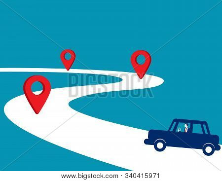 Businessman Driving The Way Forward. Concept Business Vector, Car, Checkpoint, Road.
