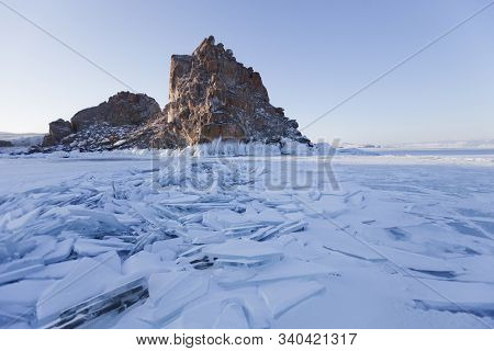 Lake Baikal Ice. Shamanka Rock. Olkhon Island. Winter Landscape