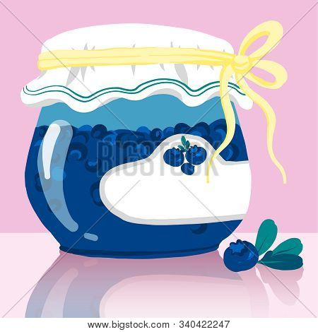 Blueberries Jam Glass Pot. A Model Of A Glass Bottle With Jam For Bottles, Well Suited For Presentat