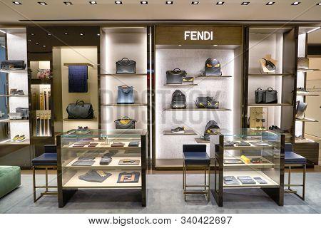 BERLIN, GERMANY - CIRCA SEPTEMBER, 2019: Fendi bags on display at the Kaufhaus des Westens (KaDeWe) department store in Berlin.