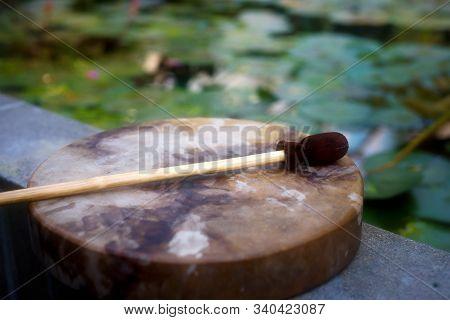Shamanic Drum In Nature, Shamanic Drum Made Of Deer Goat.