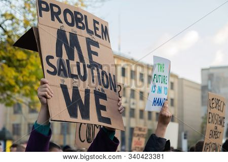 Demonstrators Protesting Against Climate Change, Young People From Different Culture And Race Fight
