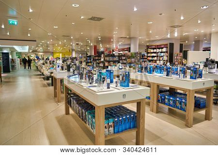 BERLIN, GERMANY - CIRCA SEPTEMBER, 2019: Philips electric shavers on display at the Kaufhaus des Westens (KaDeWe) department store in Berlin.