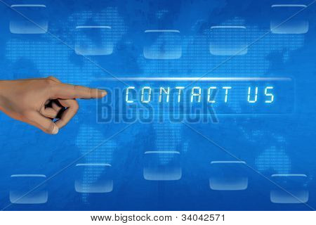Hand Pushing Contact Us Button