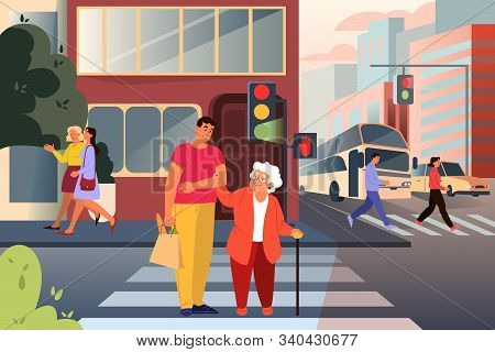 Adult Male Character Helping Old Lady Cross The Street. Man Support Old Woman