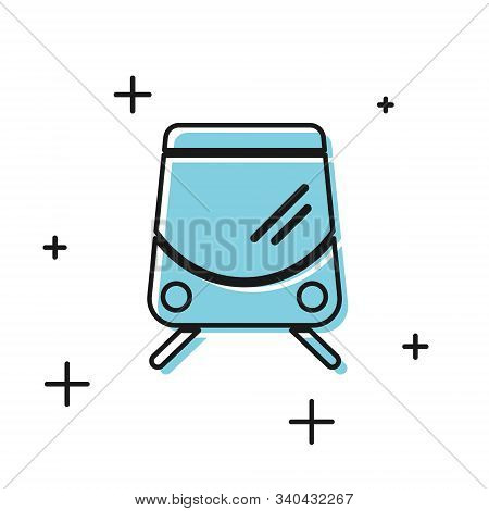 Black Tram And Railway Icon Isolated On White Background. Public Transportation Symbol. Vector Illus