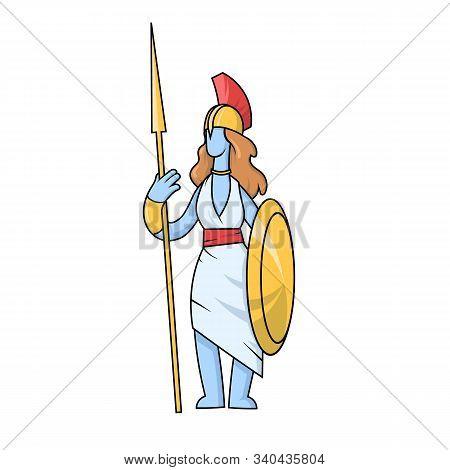 Athena, Ancient Greek Goddess Of Wisdom, War, And Useful Arts. Mythology. Flat Vector Illustration.