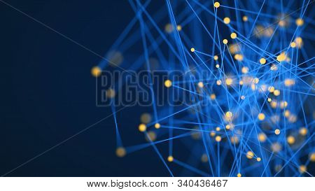 Science Technology. Technology With Line Pattern On Blue Background. Modern Hi-tech Digital Technolo