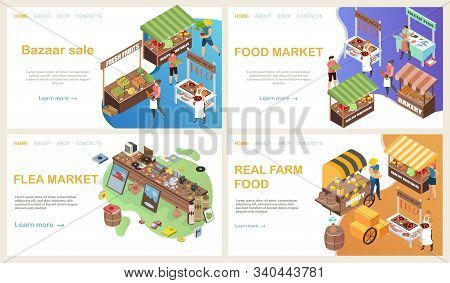 Bazaar Web Page Isometric Set With Horizontal Landing Website Backgrounds With Clickable Links Text