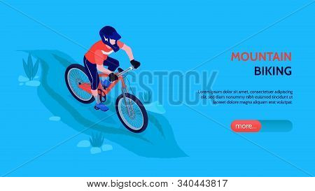 Mountain Biking Horizontal Banner With Bicyclist In Sport Form And Helmets Coming Downhill On Bicycl