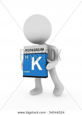 3D Man Carry A Potassium Box