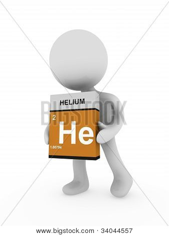 3D Man Carry A Helium Box