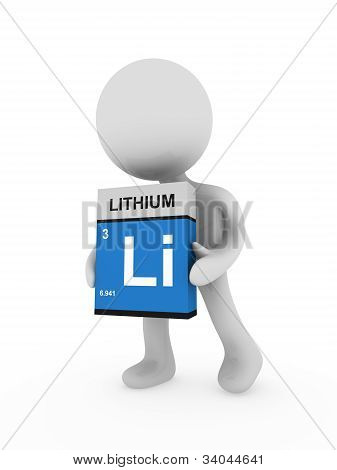 3D Man Carry A Lithium Box