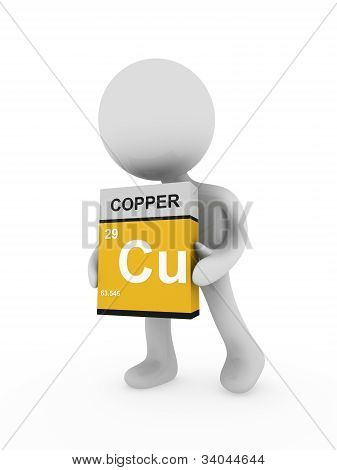 3D Man Carry A Copper Box