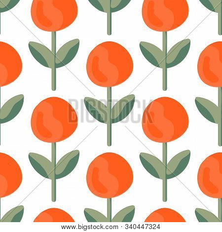 Lush Lava Bud Meadow Seamless Vector Pattern. A Beautiful Meadow Of Simple Flower Bud In Lush Lava C