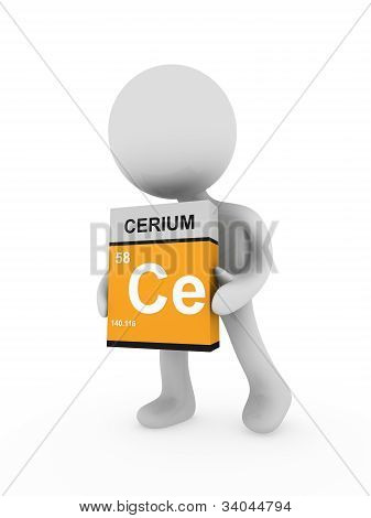 3D Man Carry A Cerium Box