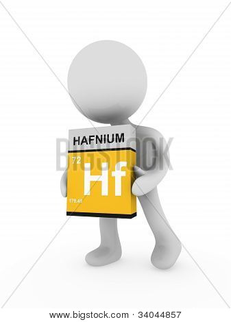 3D Man Carry A Hafnium Box