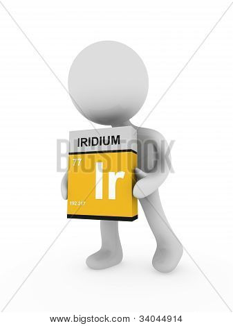 3D Man Carry A Iridium Box