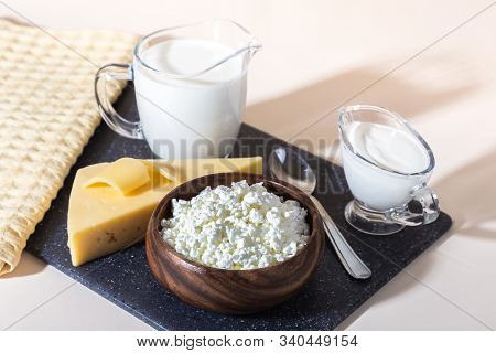 Food Is A Source Of Calcium, Magnesium, Protein, Fats, Carbohydrates, Balanced Diet. Dairy Products