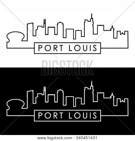 Port Louis Skyline. Linear Style. Editable Vector File.