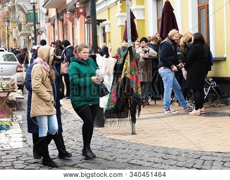 Kyiv, Ukraine - Nov 16, 2019: Famous Historical Streets Of Kyiv - Andreevsky Descent. People On Andr