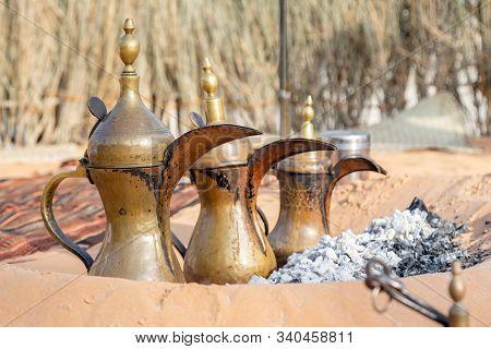 Arabic Traditional Coffee Pots, Uae Heritage Concept