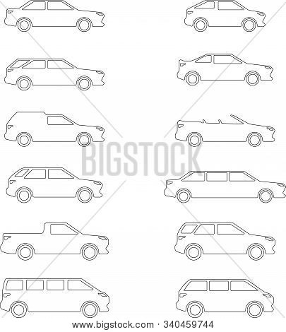 Vector Images Of Popular And Common Car Body Types: Sedan, Station Wagon, Hatchback, Suv, Pickup, Li