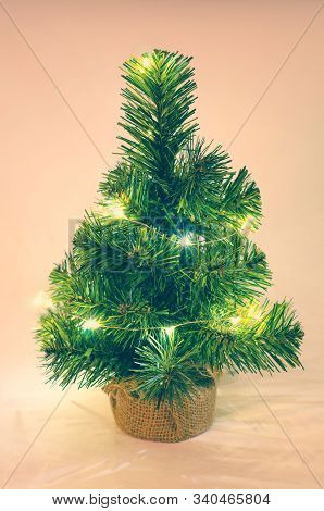 Christmas Tree On A Apricot Color Background