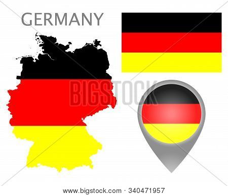Colorful Flag, Map Pointer And Map Of Germany In The Colors Of The German Flag. High Detail. Vector