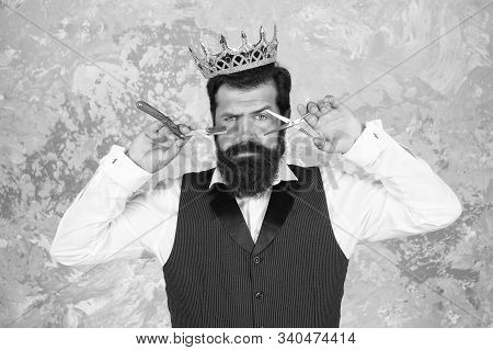Shaving With Real Blade Sounds Luxury. Bearded Man Prepare Shaving Tools Abstract Background. Hipste