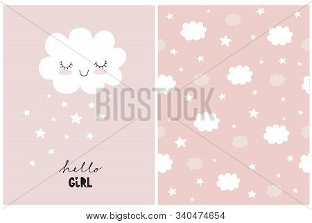 White Fluffy Smiling Cloud On A Light Pink Background. Simple Baby Shower Art. Cute Simple Baby Show