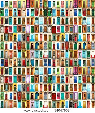 Collage with various doors from everywhere in different colors