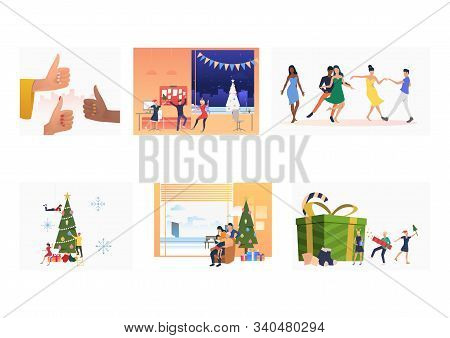 Christmas Party Set. Friends, Families Dancing At Gift, Decorating Christmas Tree, Having Fun. Flat