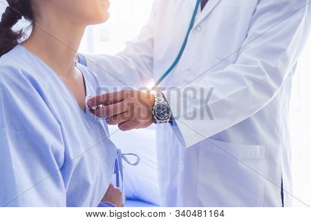Doctor Use Stethoscope, Checking Up Heart Beat, Lunch Of Auscultation In Doctor Office At Hospital.