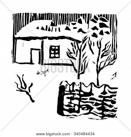 Snow House, Trees And Fence In The Winter Garden. Hand Made Linocut. Black Composition On White Back