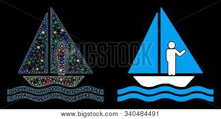 Glowing Mesh Aboard Yacht Icon With Lightspot Effect. Abstract Illuminated Model Of Aboard Yacht. Sh