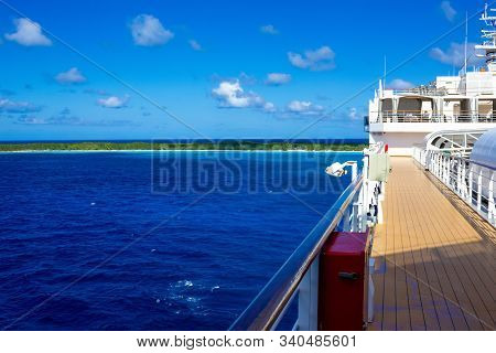 Half Moon Cay, Bahamas - December 1, 2019: Upper Deck Of Holland America Cruise Ship Eurodam At Half