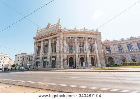 Burgtheater In Vienna In The Daytime In Sunny Weather, Austria