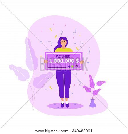 Girl With A Million Dollar Check. Raffle Winner, The Concept Of A Lottery. Flat Modern Illustration.