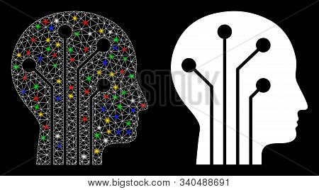 Glowing Mesh Cyborg Head Circuit Icon With Glow Effect. Abstract Illuminated Model Of Cyborg Head Ci