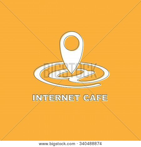 Pictograph Internet Cafe Free Wifi Hotspot Gps Map Location Isolated On Yellow Background.