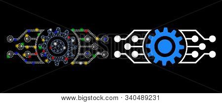 Glossy Mesh Digital Cog Icon With Glow Effect. Abstract Illuminated Model Of Digital Cog. Shiny Wire