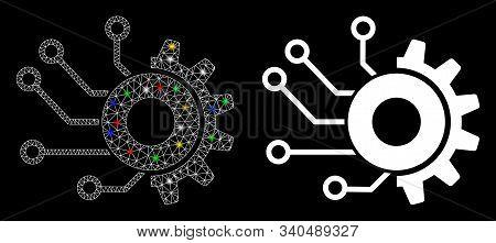 Glossy Mesh Digital Mechanics Icon With Glitter Effect. Abstract Illuminated Model Of Digital Mechan