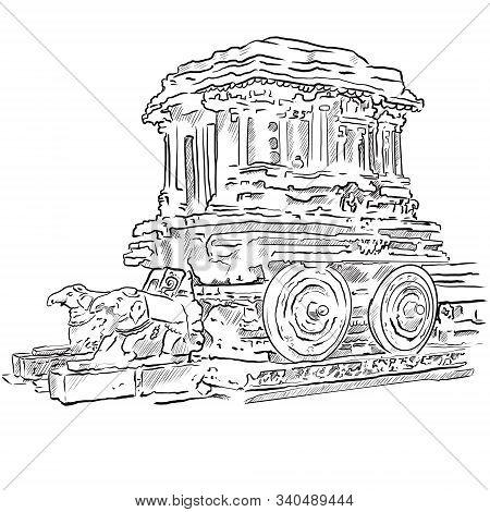 Black And White Drawing Of Hampi And The Ruins Of The City Of Vijayanagara Karnataka India.