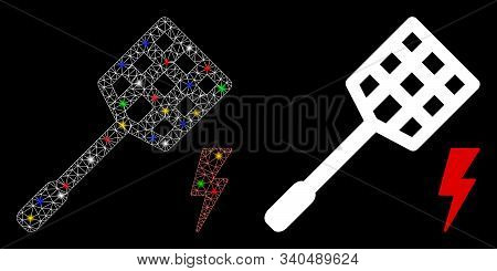 Glossy Mesh Electric Fly Killer Icon With Glow Effect. Abstract Illuminated Model Of Electric Fly Ki