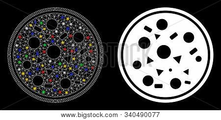 Flare Mesh Entire Pizza Icon With Sparkle Effect. Abstract Illuminated Model Of Entire Pizza. Shiny